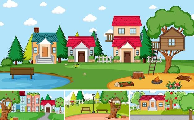 Conjunto de diferentes estilos de desenhos animados de cenas de casas ao ar livre