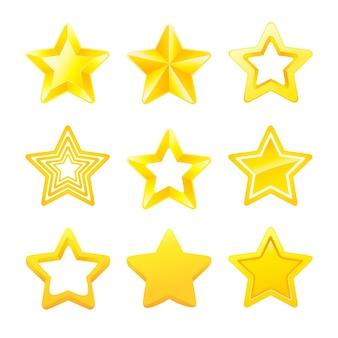 Conjunto de diferentes estrelas de classificação de ouro coleção de estrelas de ouro para ícones de jogos prêmio e classificação