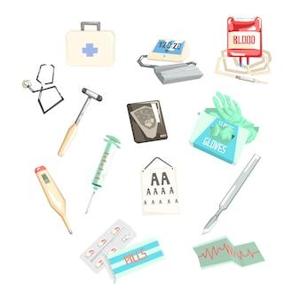 Conjunto de diferentes exames médicos e itens de tratamento