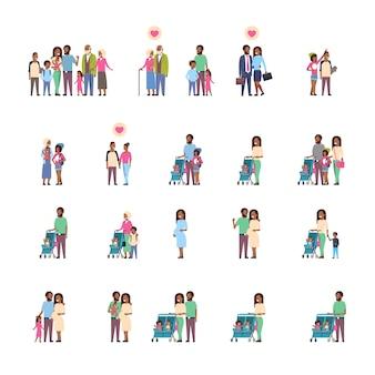 Conjunto de diferentes famílias afro