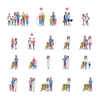 Conjunto de diferentes famílias caucasianas