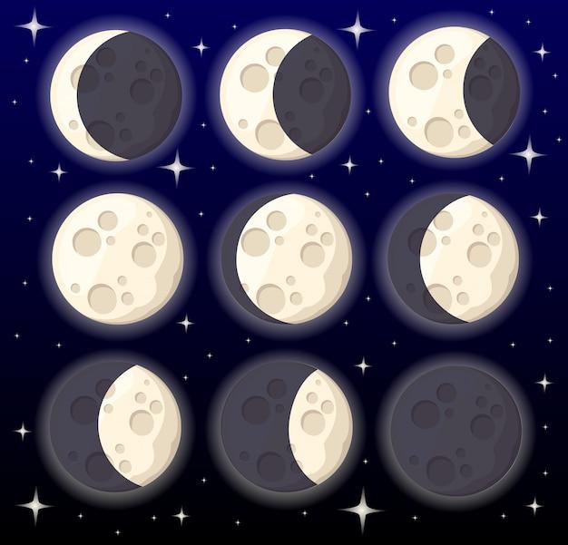 Conjunto de diferentes fases da lua, objeto do espaço, satélite natural da ilustração da terra na página do site da web do estilo de fundo e no aplicativo móvel