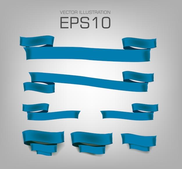 Conjunto de diferentes fitas azuis vazias