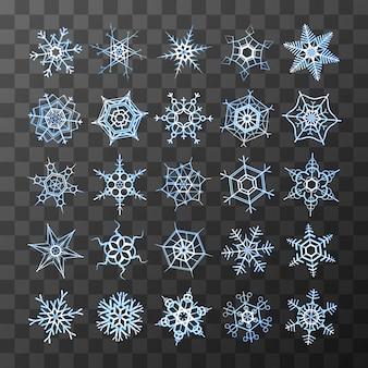 Conjunto de diferentes flocos de neve congelados em fundo transparente