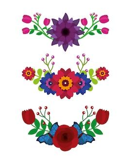 Conjunto de diferentes flores deixa decoração de borboletas Vetor Premium