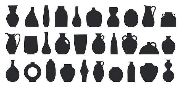 Conjunto de diferentes formas de vasos decorativos e ilustração vetorial de potes arte contemporânea para casa