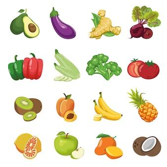 Conjunto de diferentes frutas e vegetais