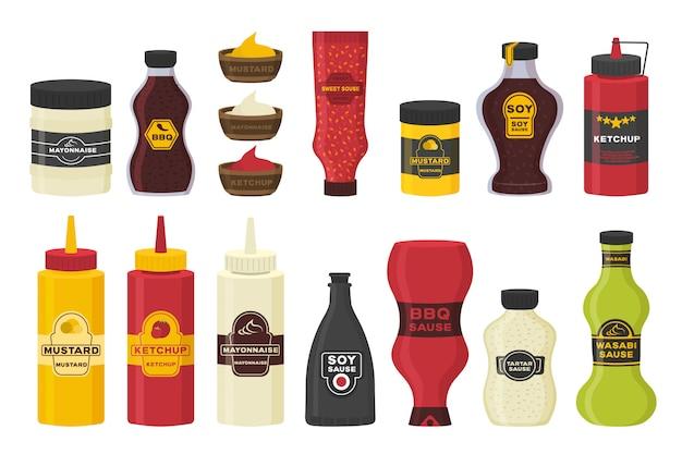 Conjunto de diferentes garrafas com molhos - ketchup, mostarda, soja, wasabi, maionese, churrasco em design plano. molho de garrafa e tigela de coleção para cozinhar isolado no fundo branco. ilustração.