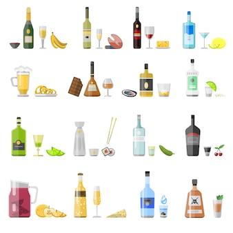 Conjunto de diferentes garrafas de bebida de álcool