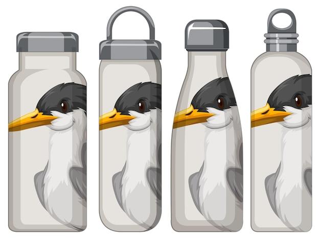Conjunto de diferentes garrafas térmicas brancas com padrão de pássaro