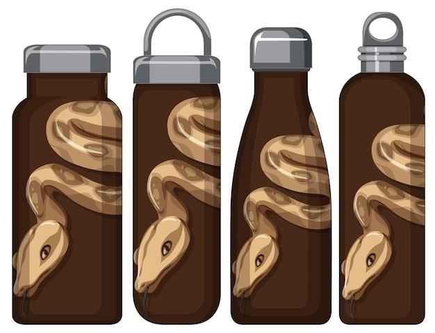 Conjunto de diferentes garrafas térmicas com padrão de cobra