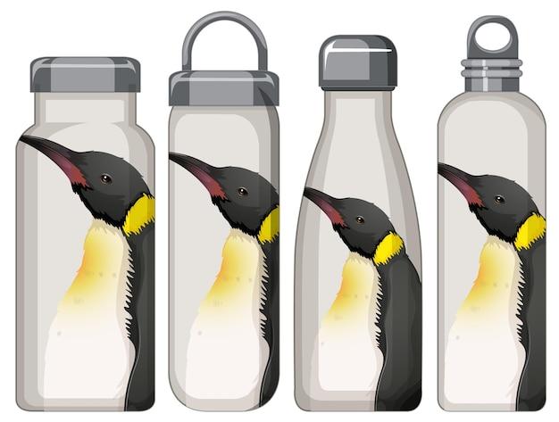 Conjunto de diferentes garrafas térmicas com padrão de pinguim