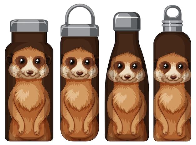 Conjunto de diferentes garrafas térmicas marrons com padrão de suricato