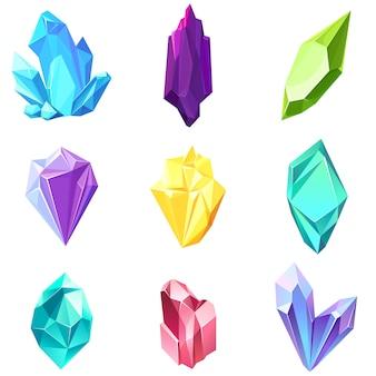 Conjunto de diferentes gemas. cristais de bela natureza.