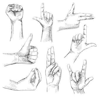 Conjunto de diferentes gestos. mãos isoladas em um fundo branco. ilustração em estilo de desenho. mão-extraídas ilustrações vetoriais.