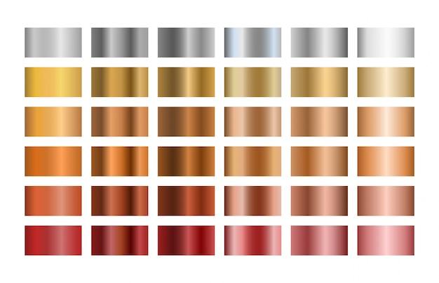 Conjunto de diferentes gradientes de metal. ilustração.