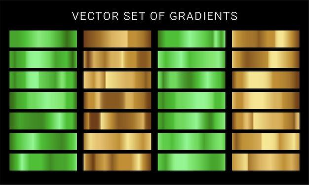 Conjunto de diferentes gradientes metálicos