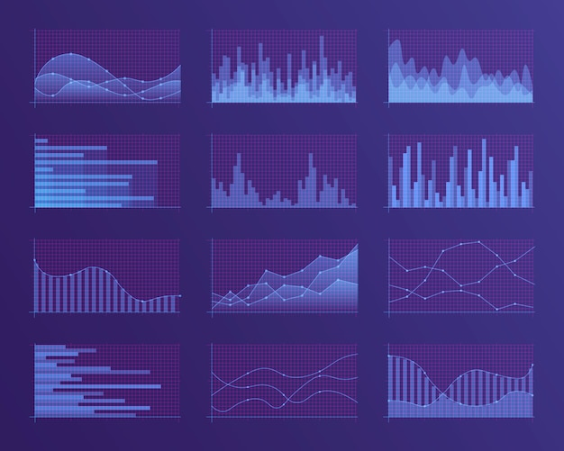 Conjunto de diferentes gráficos e tabelas. infográficos e diagnósticos, gráficos e esquemas