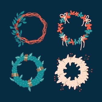 Conjunto de diferentes guirlandas de natal. ilustração vetorial desenhada à mão