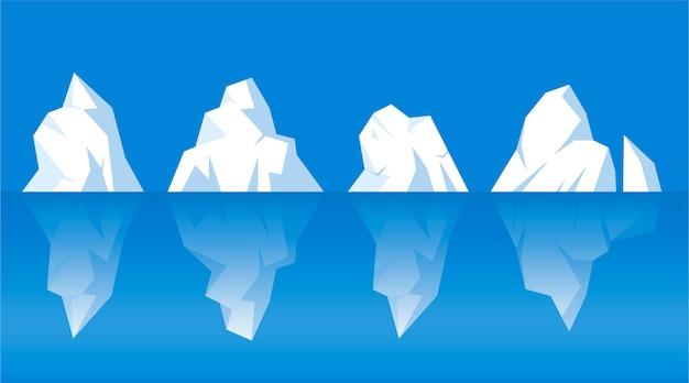 Conjunto de diferentes icebergs desenhados