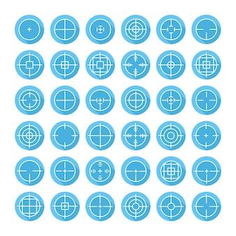 Conjunto de diferentes ícones de sinal de crosshair plana com sombra longa.