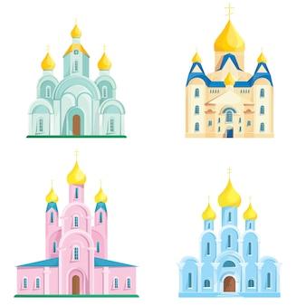 Conjunto de diferentes igrejas ortodoxas