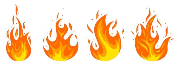 Conjunto de diferentes incêndios em estilo cartoon