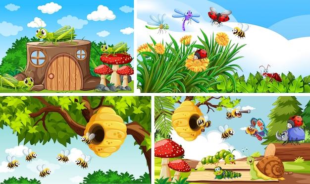 Conjunto de diferentes insetos que vivem no fundo do jardim