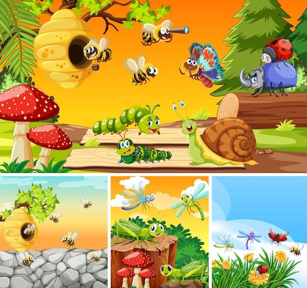 Conjunto de diferentes insetos vivendo no fundo do jardim
