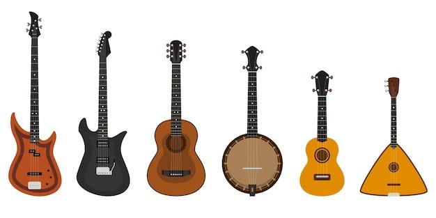 Conjunto de diferentes instrumentos de cordas. instrumentos musicais em estilo cartoon.