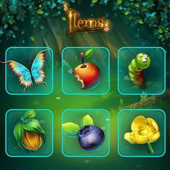 Conjunto de diferentes itens para interface de usuário do jogo. tela de ilustração de fundo para o jogo de computador shadowy forest gui.