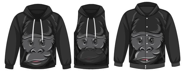 Conjunto de diferentes jaquetas com modelo de gorila