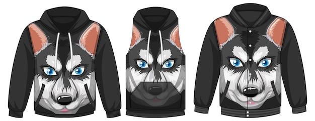 Conjunto de diferentes jaquetas com modelo de husky siberiano