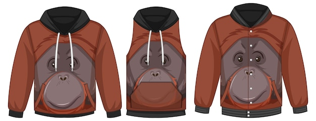 Conjunto de diferentes jaquetas com modelo de orangotango