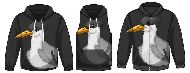 Conjunto de diferentes jaquetas com modelo de pássaro