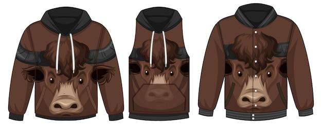 Conjunto de diferentes jaquetas com modelo de rosto de touro
