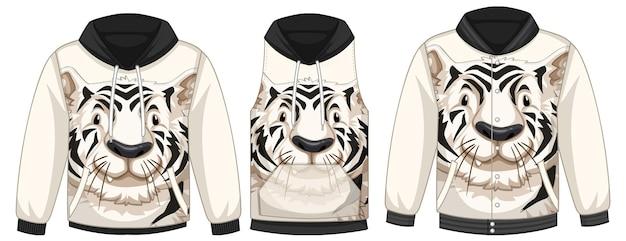 Conjunto de diferentes jaquetas com modelo de tigre branco