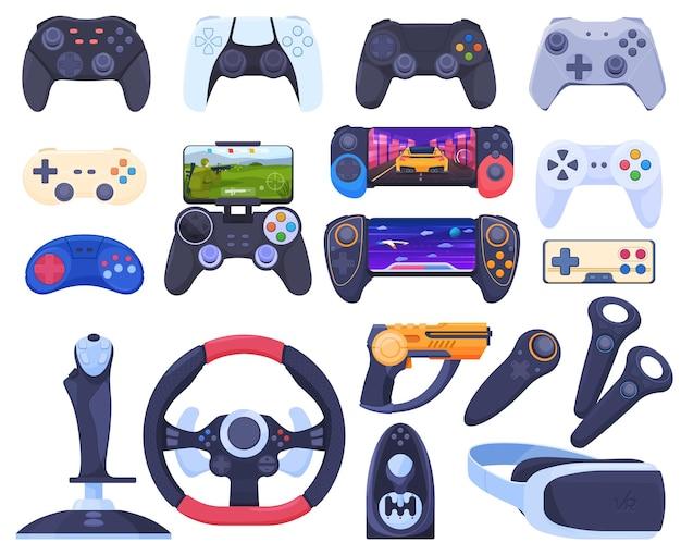Conjunto de diferentes joysticks e gamepads de jogo