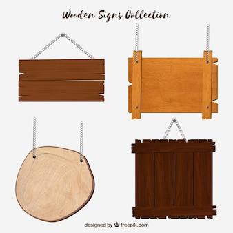 Conjunto de diferentes letreiros de madeira em design plano