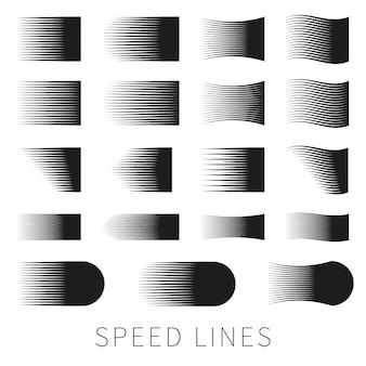 Conjunto de diferentes linhas de velocidade de vetor preto simples