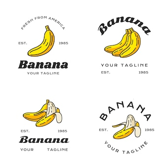 Conjunto de diferentes logotipos de banana