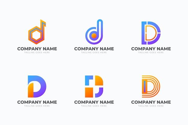 Conjunto de diferentes logotipos de gradiente d