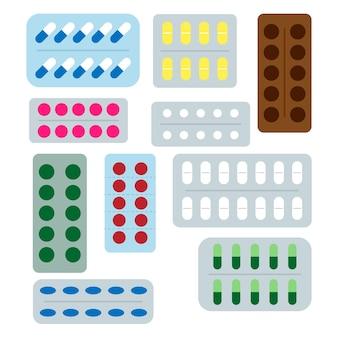Conjunto de diferentes medicamentos, pílulas médicas e medicamentos