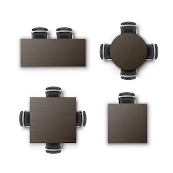 Conjunto de diferentes mesas redondas quadradas retangulares