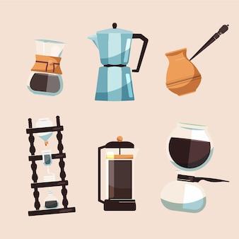 Conjunto de diferentes métodos de preparação de café
