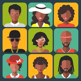 Conjunto de diferentes mulheres afro-americanas e ícones de aplicativos de homem em estilo simples.