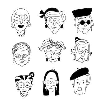 Conjunto de diferentes mulheres idosas enfrenta ícones de aplicativos na coleção de imagens de cabeças de estilo linear de doodle de estilo ...
