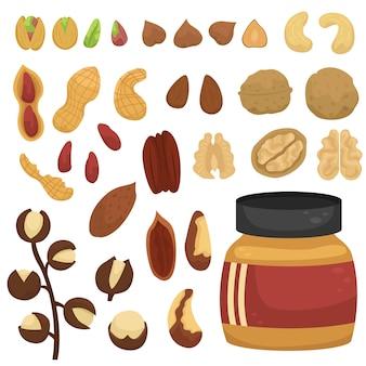 Conjunto de diferentes nozes e potes de pasta de noz.