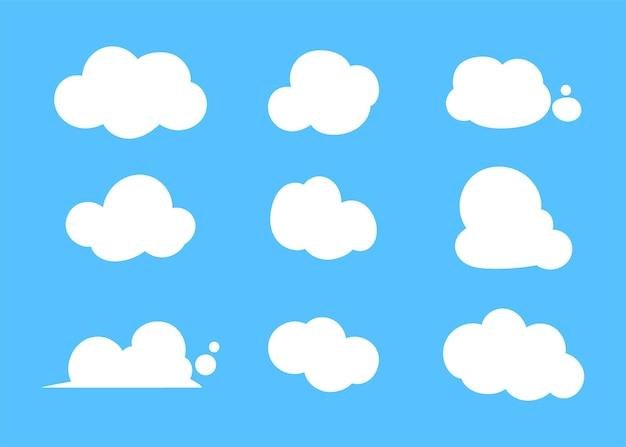 Conjunto de diferentes nuvens na ilustração da arte de fundo azul
