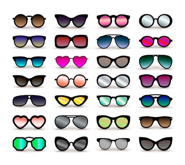 Conjunto de diferentes óculos.